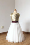 2021 A Line Simple Light Gold Sequin Ivory Tulle Scoop Flower Girl Dress with Burgundy Sash JS774