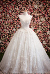 Sweetheart Ball Gown Sleeveless White Tulle Beads Appliques Sweep Train Wedding Dress