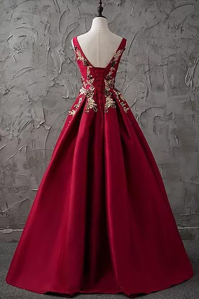 Chic Burgundy Cheap Scoop Long Lace up Satin Sleeveless Prom Dresses JS88