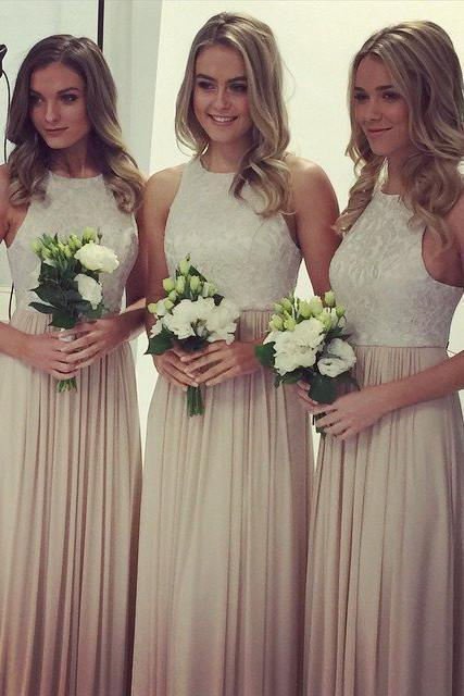 2019 A-Line O Neck Lace Top Long Chiffon Sleeveless Floor-Length Bridesmaid Dresses JS350