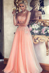 A-Line Strapless Lace Appliqued Floor-length Blush Pink Beaded Tulle Prom Dresses JS313