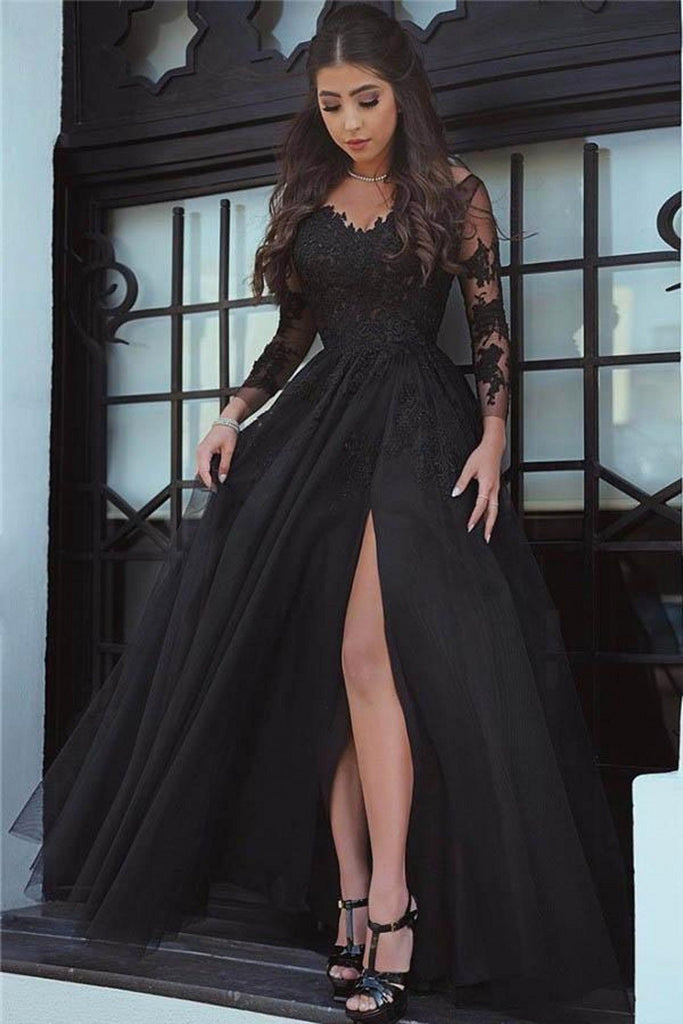 A Line Long Sleeve Slit Black Tulle Lace Appliques Backless Sweetheart Prom Dresses JS38