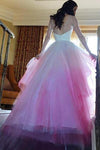 Chic A Line Sweetheart High Low Ombre Organza Long Sleeve V Back Wedding Dress JS324