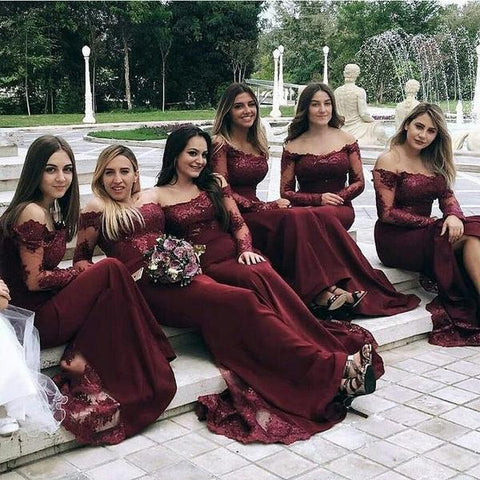 Burgundy Long Sleeves Off the Shoulder Mermaid Cheap Long Bridesmaid Dresses JS305