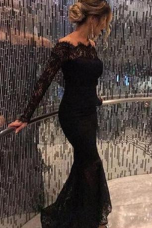 2020 New Style Mermaid Long Sleeves Black Lace Scoop Long Evening Dresses JS762