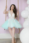 A Line Deep V Neck Tulle Lace Appliques Cute Short Prom Dresses Homecoming Dresses JS908