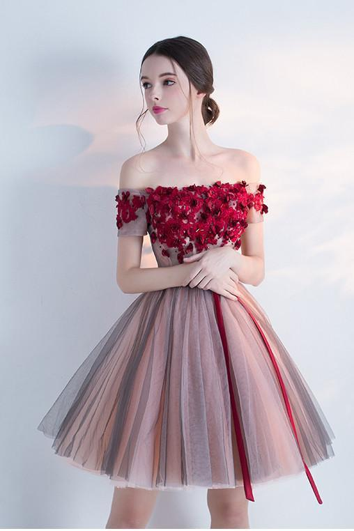 A Line Red Off the Shoulder Above Knee Short Sleeve Flowers Homecoming Dresses UK JS308