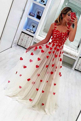 Stylish A Line Tulle Sweetheart Spaghetti Straps Red Flowers Sleeveless Prom Dress JS811