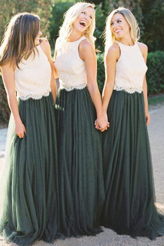 A Line Lace Bodice Green and White Tulle Long Round Neck Bridesmaid Dresses UK SSM285