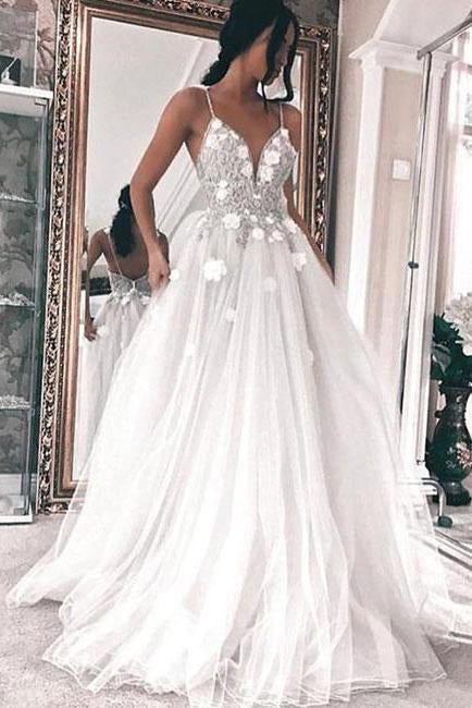 A Line V Neck Tulle Long Ivory Spaghetti Straps Lace Appliques Cheap Prom Dresses JS809