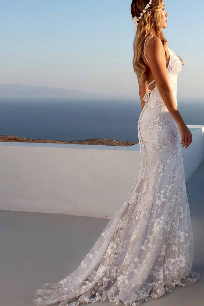 Sexy Backless Off White Mermaid Lace V Neck Wedding Dresses Long Prom Dresses JS354