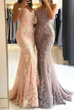 Unique Sweetheart Spaghetti Straps Lace Appliques Mermaid Long Prom Dresses SSM115