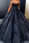 2021 Ball Gown Spaghetti Straps Navy Blue Vintage Cheap Long Prom Quinceanera Dresses JS113