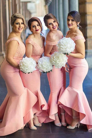Baby Pink Mermaid Off the Shoulder Hi-Low with Ruffles Sweetheart Lace Top Bridesmaid Dress SSM468