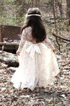 Scoop Ivory Lace Girl Dress Ivory Bowknot Baby Dress Long Sleeve Flower Girl Dress JS268