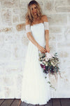 A-Line Off-the-Shoulder Short Sleeves Backless White Lace Boho Wedding Dresses UK JS365