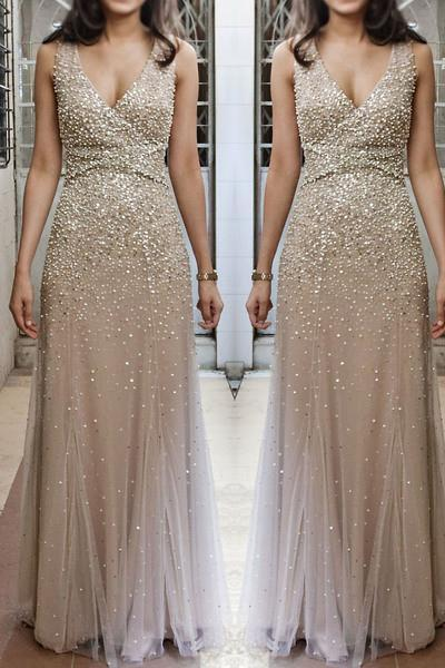 Champagne tulle beads luxury  V neck long chiffon evening dresses