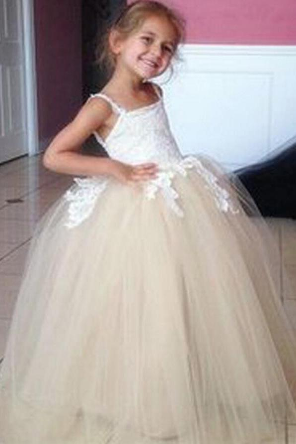 Tulle Applique Spaghetti Straps Backless Flower Girl Dresses Lovely Tutu Dresses JS117
