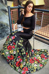 A Line Off the Shoulder Two Piece Long Sleeve Satin Floral Scoop Long Prom Dresses JS188