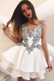 Cute A Line Scoop Grey Lace Appliques Ivory Mini Satin School Dress Homecoming Dresses SSM992
