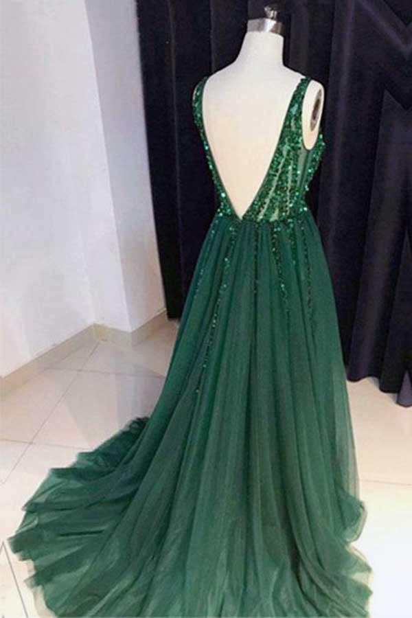 Chic A-Line V Neck Backless Dark Green Tulle Prom Dress with Sequins Evening Dresses JS696