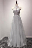 A-line Halter Sequins Tulle Floor Length Prom Dresses Evening Dresses JS553