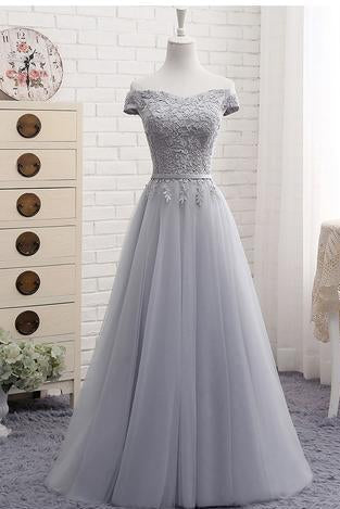 Cute A line Gray Lace Off Shoulder Lace-up Prom Dress with Appliques Graduation Dresses JS105