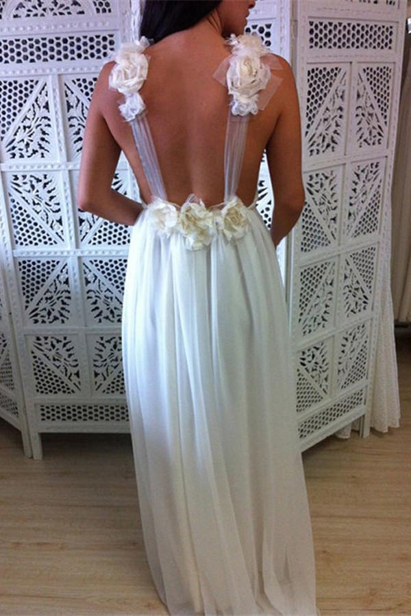 A-Line V-Neck Floor Length Backless Chiffon Tulle Wedding Dress with Handmade Flower JS640
