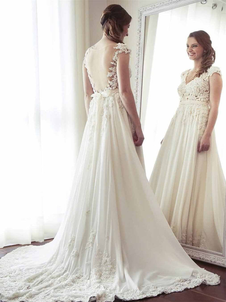 A-Line V-Neck Chiffon with Lace Appliqued Cap Sleeves Ivory Chapel Train Wedding Dresses SSM883