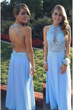 A Line Lace Bodice Backless Long Chiffon Prom Dresses Dresses