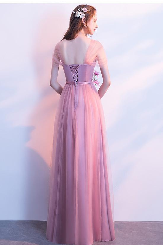 Elegant A-Line Pink Tulle Off the Shoulder Sweetheart Lace up Prom Bridesmaid Dresses JS572