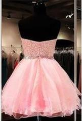 2021 Lace Short Blush Pink Strapless Sweetheart Sweet 16 Dress Homecoming Dresses H28