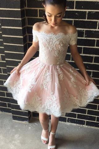 Cute A-line Off-the-shoulder Pink Short Prom Dress with Lace Appliques JS318