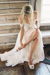2021 Elegant Off-shoulder Beading Sash Backless White Long Chiffon Wedding Dresses JS174