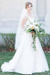 A-Line Sweetheart Court Train Sleeveless White Wedding Dress with Lace Beading JS94