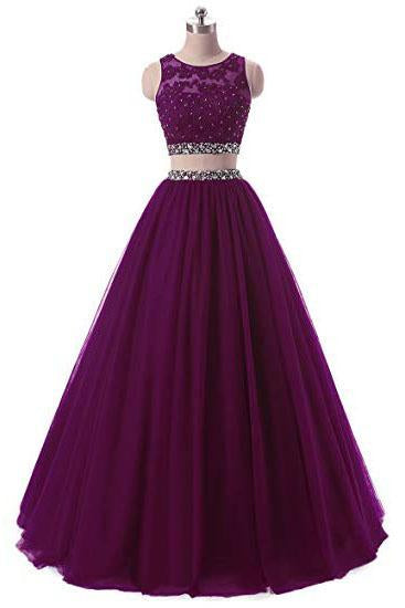 A Line Two Pieces Lace Sequins Beads Open Back Appliques Sleeveless Prom Dresses JS334
