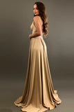 Elegant A-Line V-Neck Elastic Satin Backless Ruffles Sleeveless Bridesmaid Dress with Split SSM757