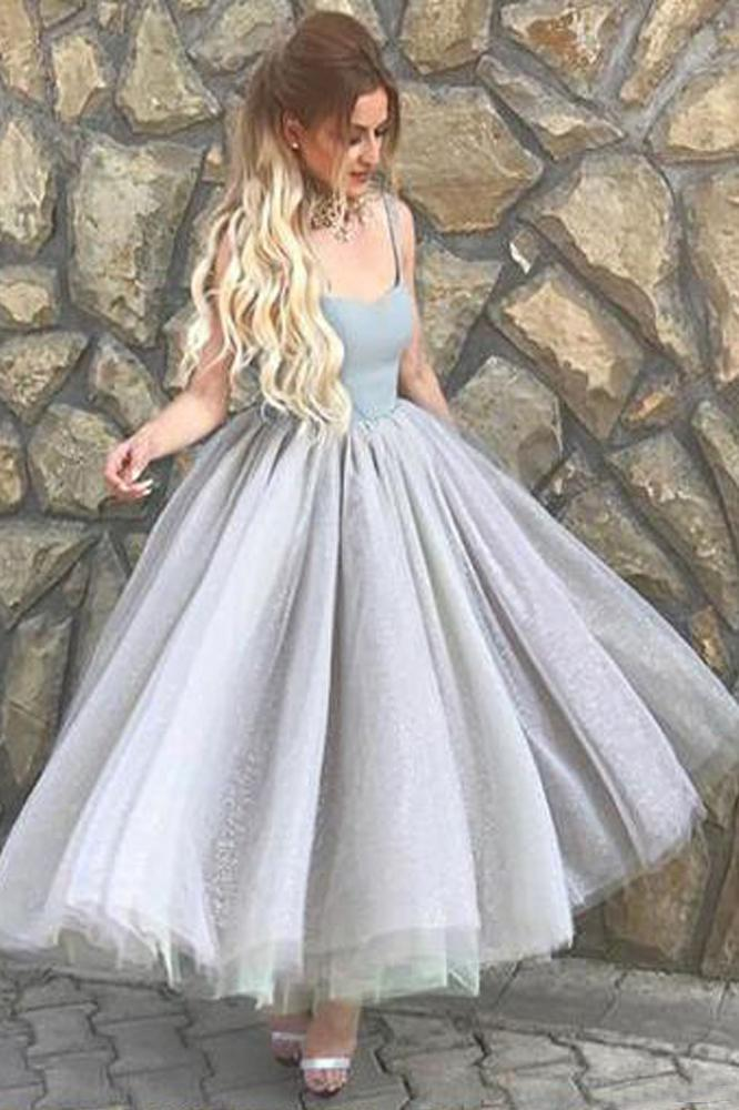 Elegant A Line Spaghetti Straps Sweetheart Tulle Grey Tea Length Homecoming Dresses JS944