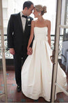 A-Line Sweetheart Strapless Backless Floor-Length Ivory Satin Wedding Dresses with Ruched JS276