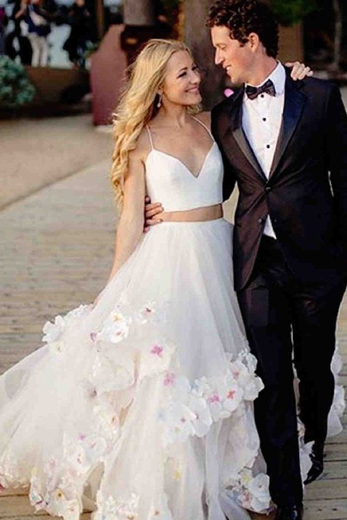 Stylish A-Line Two Piece Spaghetti Straps V-Neck Tulle Long Wedding Dresses with Flowers JS289