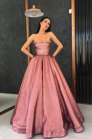 Unique Strapless A Line Long Pink Satin Floor Length With Pockets Prom Dresses SSM123