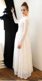 Elegant Princess Long Sleeve A Line Lace High Neck Ivory Long Wedding Dresses JS65