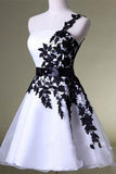 A Line One Shoulder White Homecoming Dress with Black Lace Knee Length Party Dress SSM44
