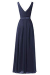 A Line V Neck Chiffon Navy Blue Long Sleeveless Ruffles Floor Length Prom Dresses JS337