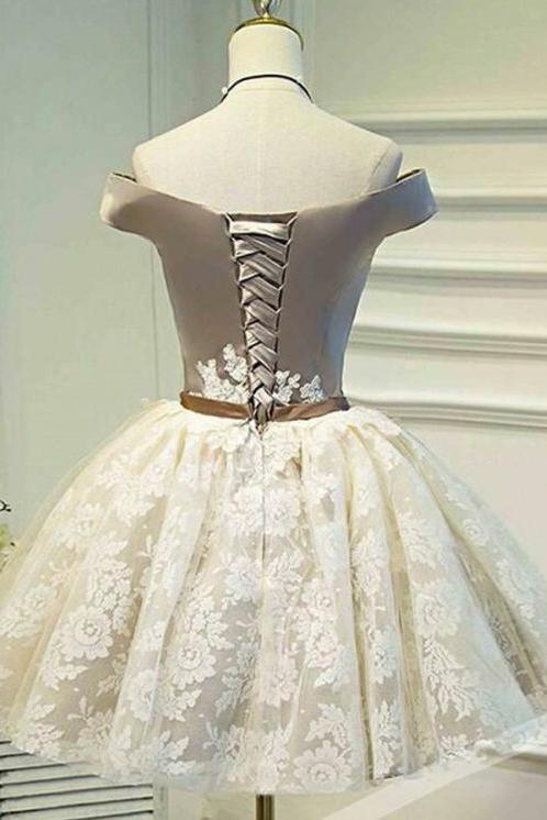 A Line Off the Shoulder Lace up Bowknot Cute Ivory Lace Homecoming Dresses JS830