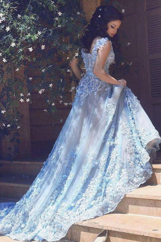 Elegant Spaghetti Straps Lace Flower Light Blue Sleeveless Zipper Tulle Prom Dresses JS260