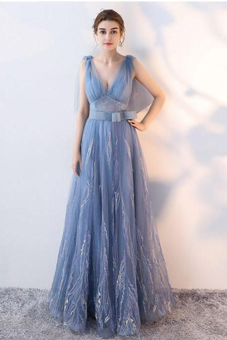 Elegant A-Line Blue Tulle V-Neck Backless Sleeveless Sweep Train Prom Dresses UK JS175