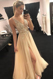 Elegant A Line V Neck Open Back Split Yellow Beaded Long Tulle Prom Dress Evening Dresses SSM214