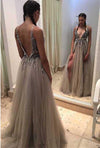 Ball Gown Grey Backless V-Neck Long Tulle Sleeveless Evening Gowns with Sparkle Slit JS41
