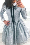 A-Line Crew Long Sleeves Above Knee Grey Lace Short Homecoming Dresses JS19